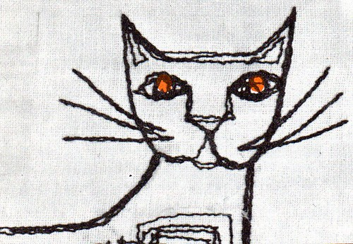 cat embroidery detail