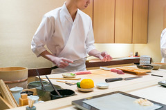 Chef cutting fish