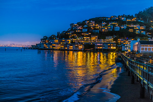 Sausalito lights at dusk by joeeisner
