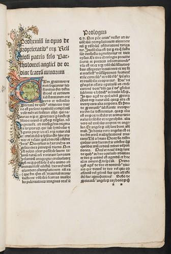 Foliate penwork initial in Bartholomaeus Anglicus: De proprietatibus rerum