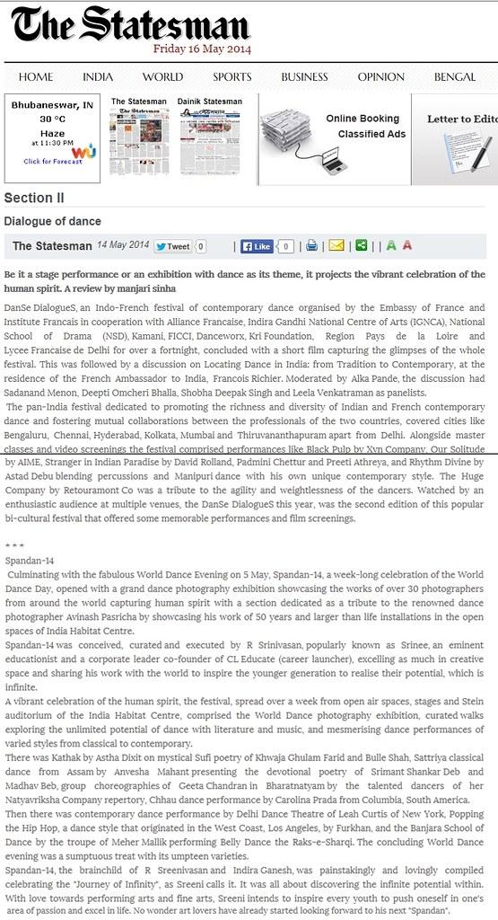 STATESMAN - Spandan featured in Manjari Sinha ji's column