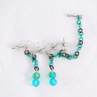 Blue and Green Cartilage Chain Earrings