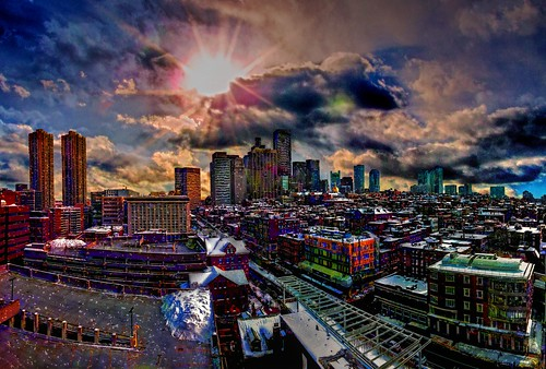 yawkey center mass massachusetts general hospital boston skyline composite manipulation stitch photos new sky sunrise photoshop flickr yahoo daum hdr paint imagination improve color hue saturation usa snow cold view sun clouds android colourful red blue green white air eye art landscape interesting creative surreal avant guarde