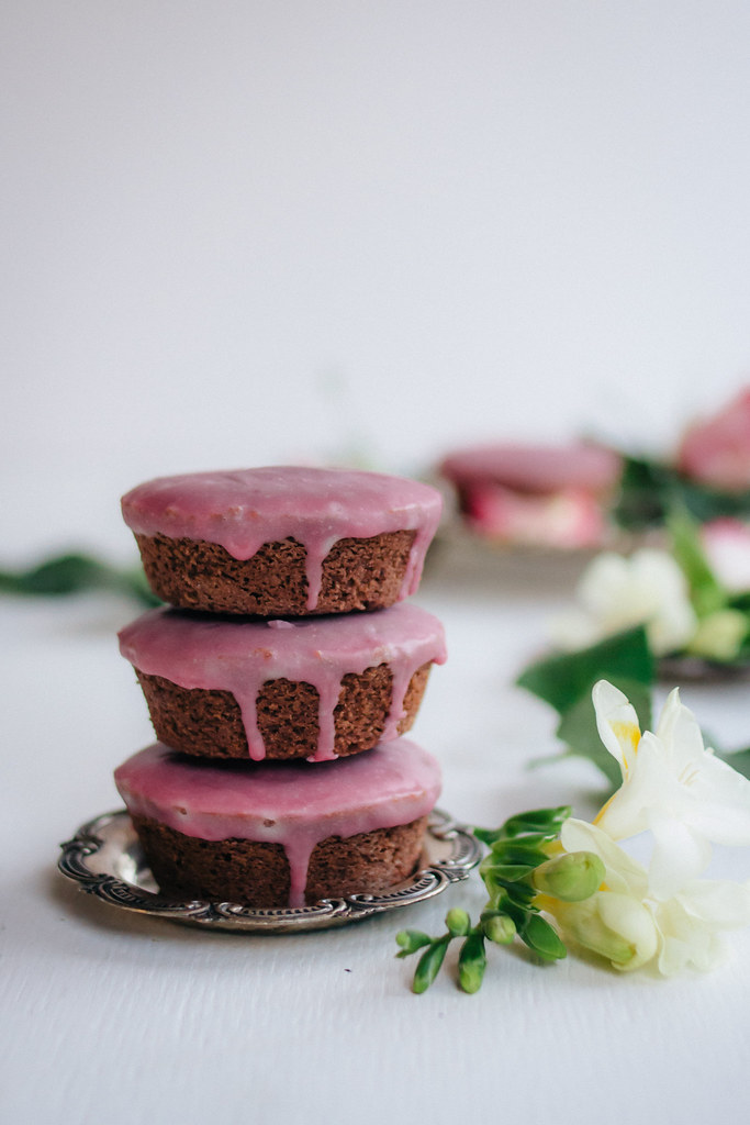 Mini Chocolate Pound Cakes + Raspberry Rose Glaze