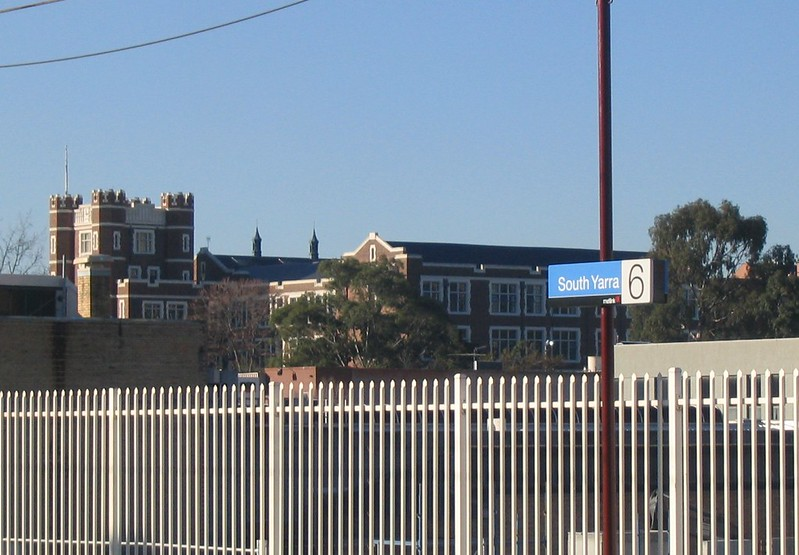 Melbourne High School, seen from South Yarra Station (May 2006)