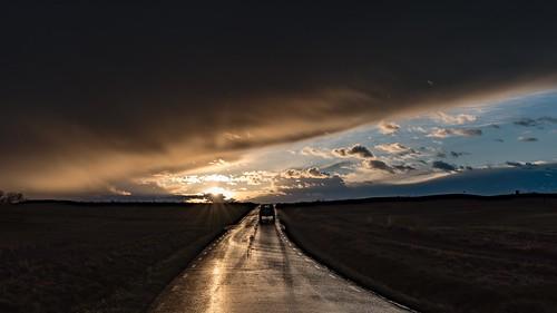 road sunset sky copyright cloud sun storm nature car rain weather clouds composition landscape evening nikon sweden outdoor dusk perspective tracks front handheld sverige nikkor scandinavia östergötland vårdnäs d810 vesterby nordiclandscape 1635mmf4 jarnasen järnåsen