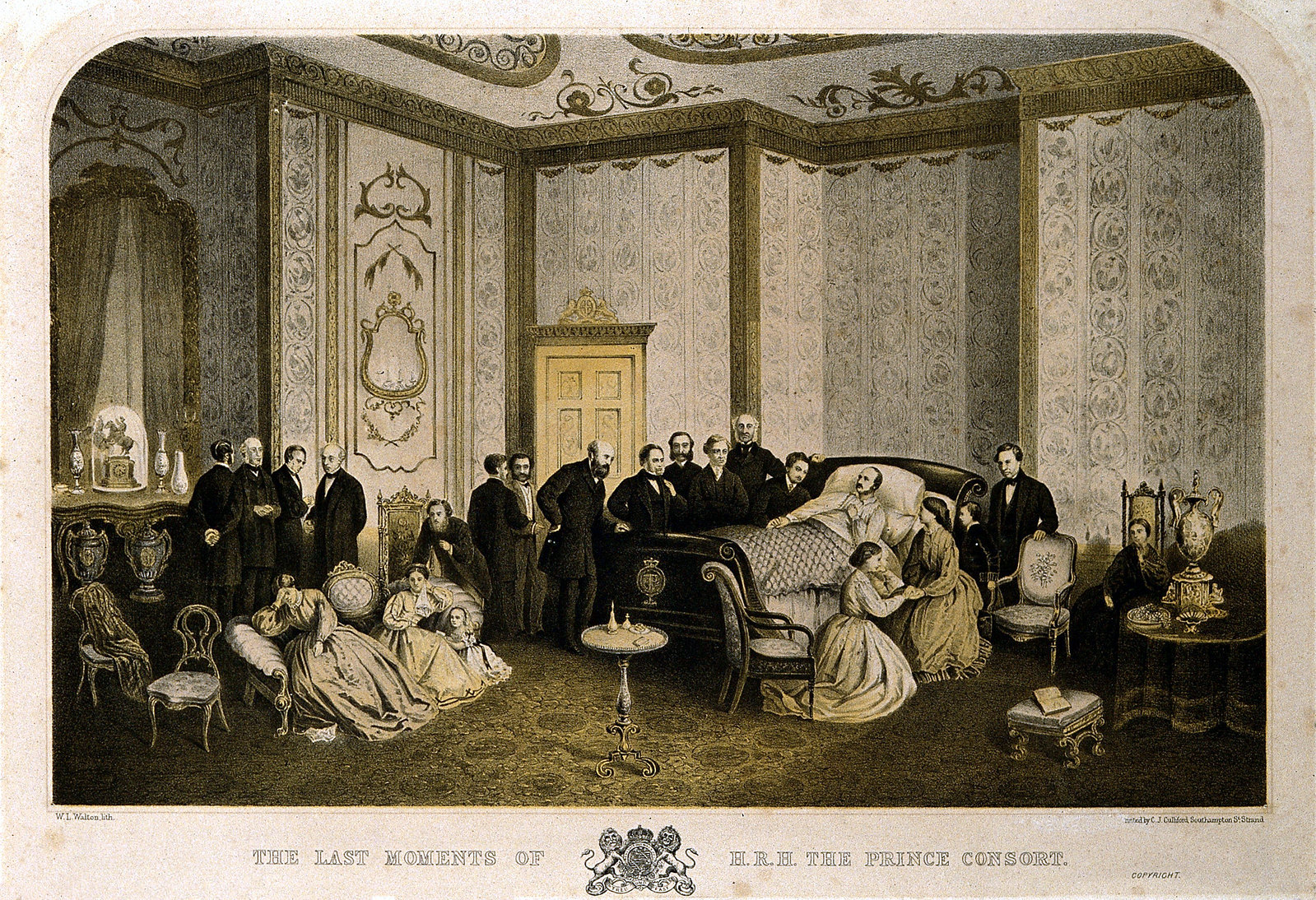 Albert, Prince Consort, on his deathbed at Windsor Castle, with members of the royal family and the royal household in attendance, 14 December 1861. Credit Wellcome Images
