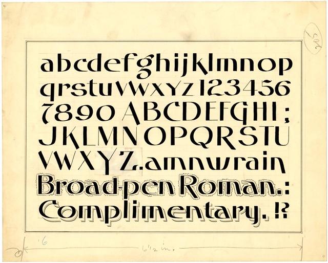 original ink drawing of penmanship alphabet - Broad-pen Roman