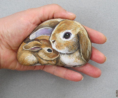 Bunnies Painted on the Rock. Cute Mother and Baby by Alika-Rikki