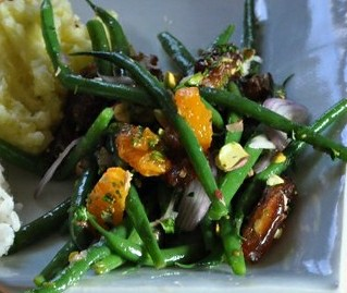 Warm Green Bean Salad with Tangerines, Pistachios, and Dates