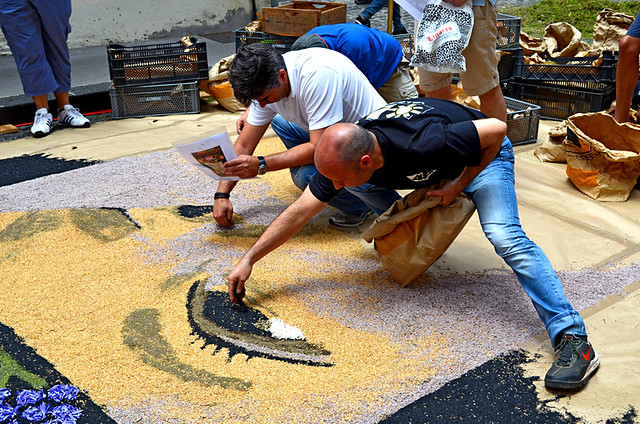 Creating a Carpet, Corpus Christi, Flower Carpets, La Orotava, Tenerife