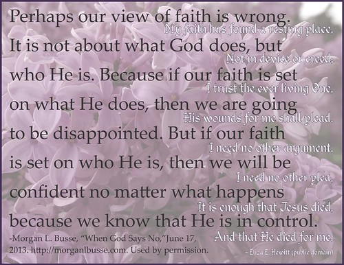 Faith quote from Morgan L. Busse, using lilacs