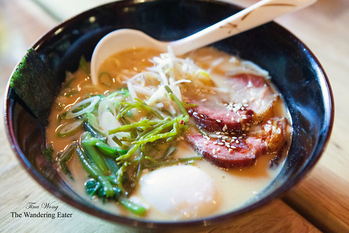 Ramen with roast pork shoulder, egg, sea beans, miso broth
