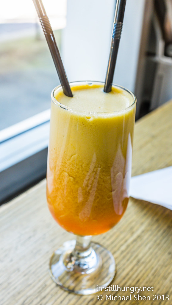 Nice 'n' smooth juice Nice 'N' Smooth - a blend of orange, apple, strawberry & honey chalkboard cafe