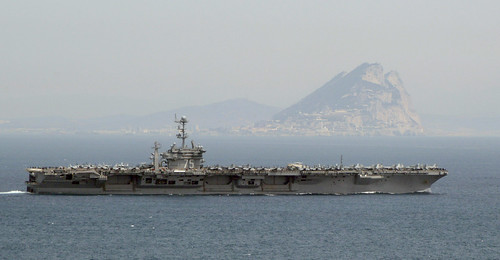 USS Harry S. Truman passes the Rock of Gibraltar.