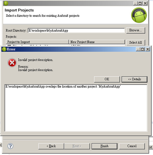 android_imporInvalid project description. overlaps the location of another projectt_projects