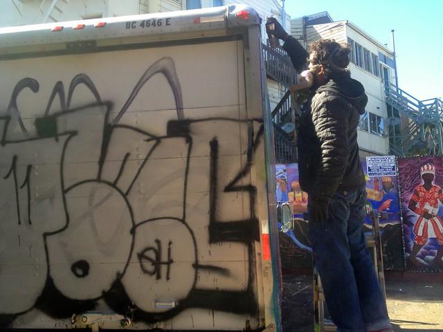 Spray Painting Truck Wheels