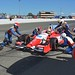 The Dale Coyne Racing team work on Justin Wilson's car during the GoPro Grand Prix of Sonoma