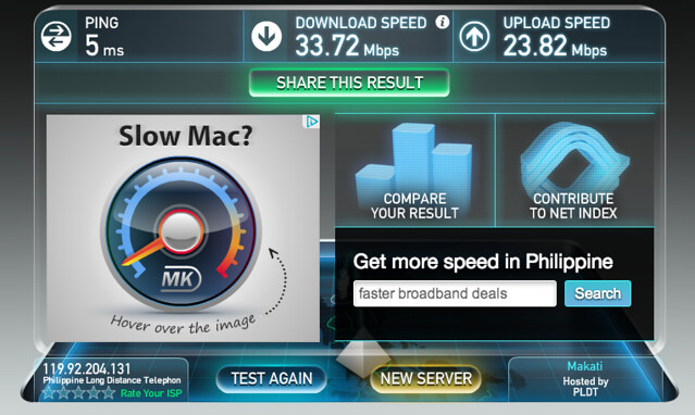 Wifi speed at Raffles Makati