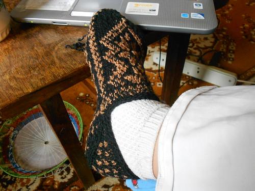 готовый тапок на ноге