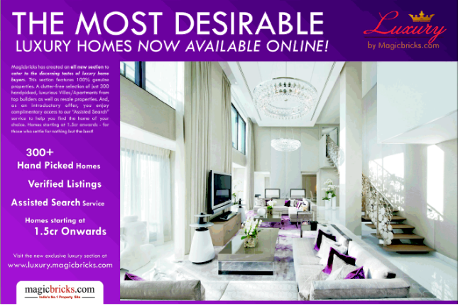 Rs. 1.5 Crore Onward 300   Luxury Properties Available Online at www.luxury.magicbricks.com (4-10-2013)