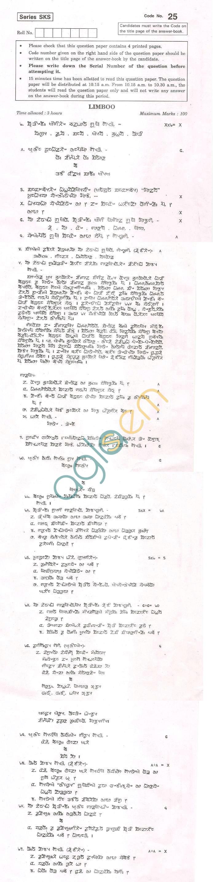 CBSE Board Exam 2013 Class XII Question Paper -Limboo
