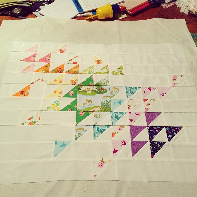 All pieced together! Now to contemplate how to quilt it. #schnitzelandboominiquiltswap #makeaquiltmakeafriend