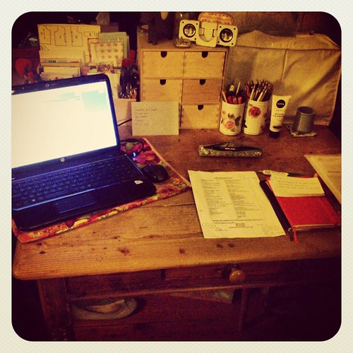 A more orderly desk. Revising for an exam on Monday.