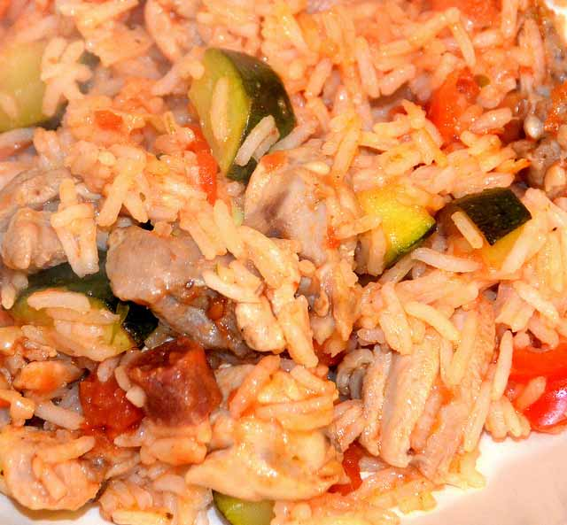 rice, chicken and vegetable dish