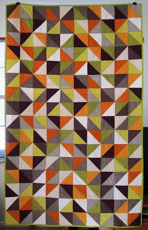 half square triangle quilt, front