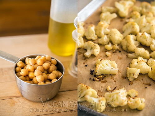 Cup of chickpeas and roasted cauliflower