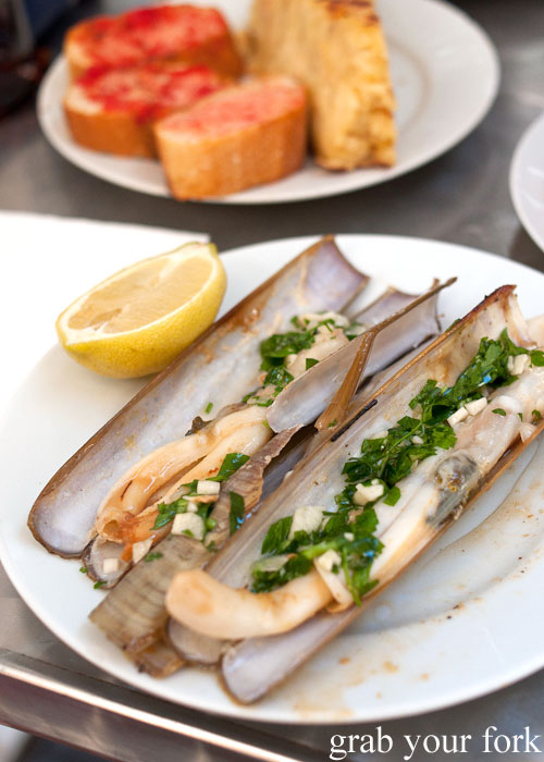 Grilled razor clams at Can Eusebio, Barcelona
