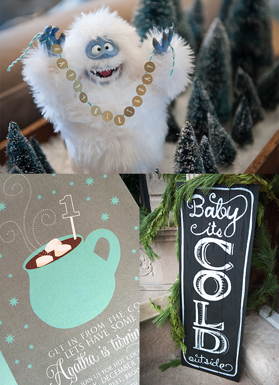 Winter Birthday Party Decorations Collage with Invite, Abominable Snowman centerpiece holding a happy birthday banner and an Baby It's Cold Outside wooden sign