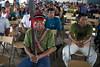 Ricardo Arahuanaza Sandi, apu de la comunidad nativa de Nuevo Andoas, participa en la Asamblea celebrada con motivo de la llegada de James Anaya a la zona. / ©Julio Reaño