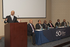 Moderator William Leftwich opens the panel discussion featuring Anthony Lee, Willie Wyatt Jr., U.W. Clemon, Fred Gray, Harold Franklin and Samuel Pettijohn.