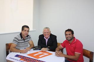 Vereador Ferrugem, de São Vicente (ao centro), em reunião na sede estadual do Solidariedade