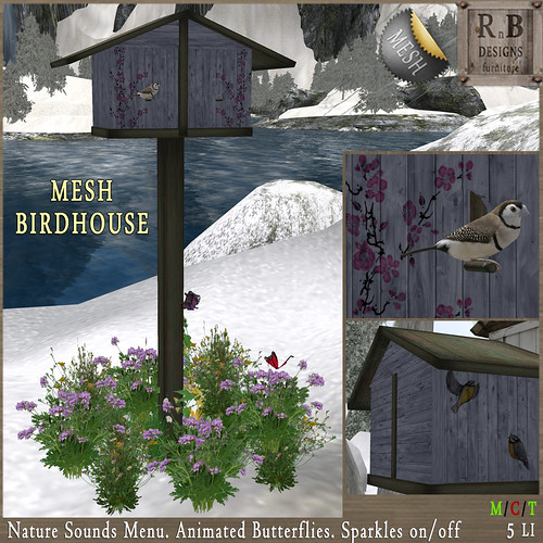 NEW ON SALE ! *RnB* Mesh Birdhouse - Blue (sounds & butterflies)
