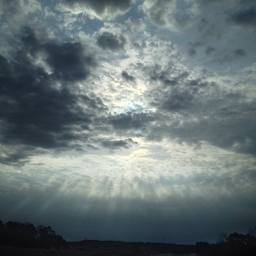 The way the sun was filtering down through the clouds on the way to church this morning was breathtaking.