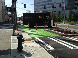 Broadway Cycle Track safety crossing painted at Cherry St @cascadebicycle @seabikeblog @seatransitblog @jseattle