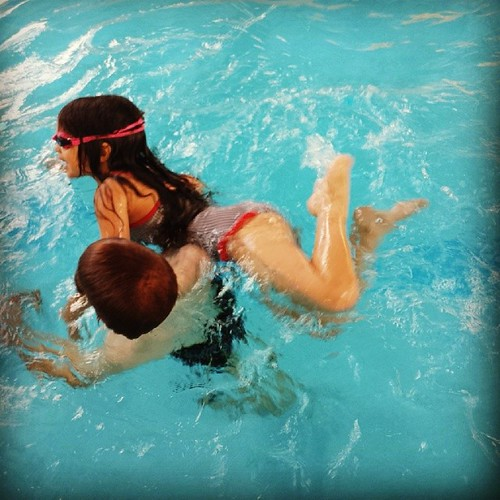 Not that you can see it very clearly but he was carrying her through the water on his shoulder. After a morning of squabbling and bickering hearing their laughing together was a much needed tonic. #100happydays