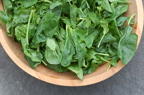 Gorgeous first spinach of the season from Taliaferro farms by Eve Fox, the Garden of Eating blog, copyright 2014