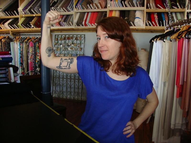 Lilia and her sewing machine tattoo