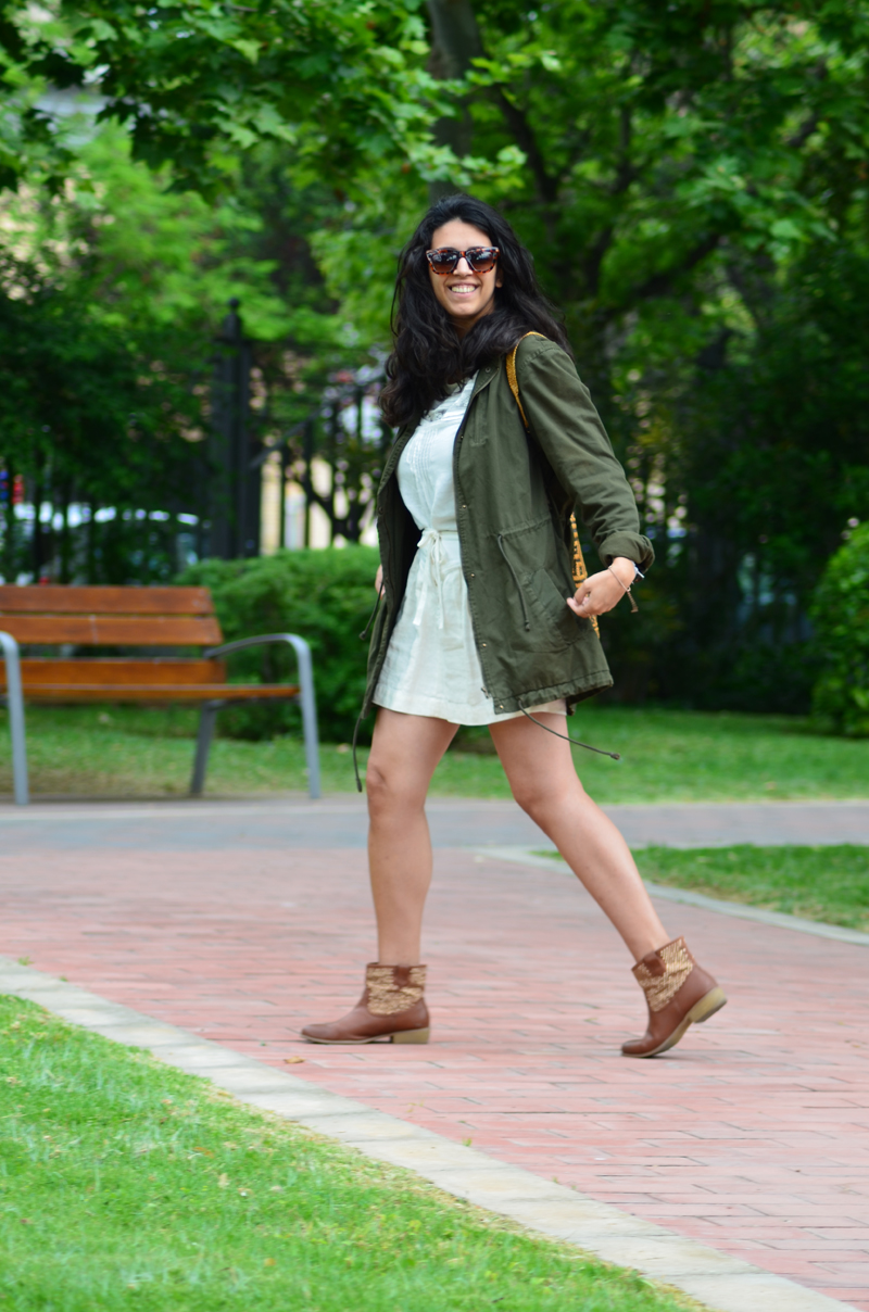 florenciablog green parka zara stradivarius look beig bolso hippie mochila gandia fashion style (9)