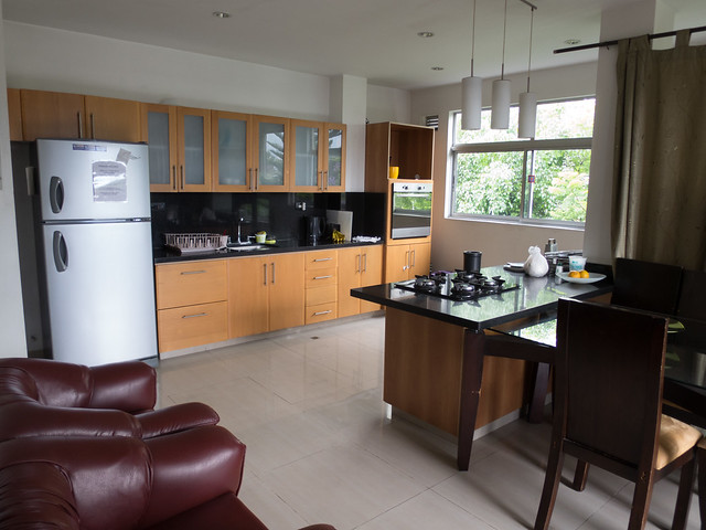 The kitchen in the top floor apartment