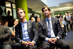 Mark Rutte en Mark Dijk bij de Dutch Game Garden