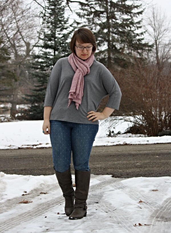 grey top, pink scarf, polka dot jeans, grey boots