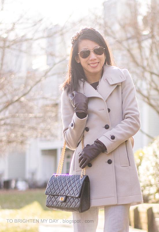 gray wool trench coat, purple gloves, gray pants