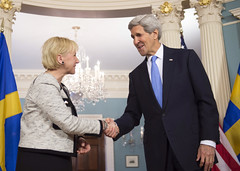 U.S. Secretary of State John Kerry shakes hands with Swedish Foreign Minister Margot Wallstrom after they addressed reporters at the U.S. Department of State in Washington, D.C., on January 29, 2015. [State Department photo/ Public Domain]