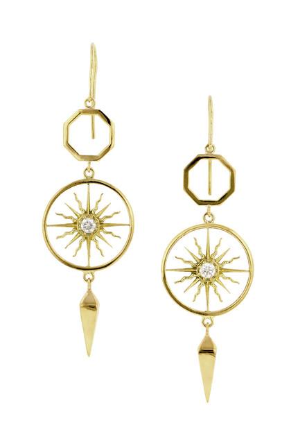 Sunburst Drop Earrings in Yello Gold by Heirloom 1