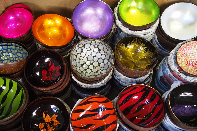 colourful laquered coconut shell bowls, Hanoi, Vietnam
